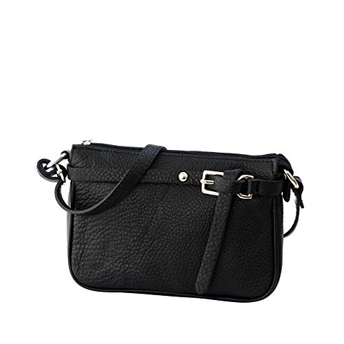 SH Leder ® Echtleder Umhängetasche kleine Tasche Crossbody Bag Messenger Handtasche mit Reißverschluss - Abendtasche City Clutch Party - 22x15cm Yvonne G157 (Schwarz) -