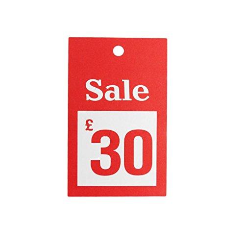 New 100x Verkauf 30£ für große Karten reduzierten Preis Tagging Gun Karte Pricing Kleiderbügel Swing Tickets Zahlen Karten