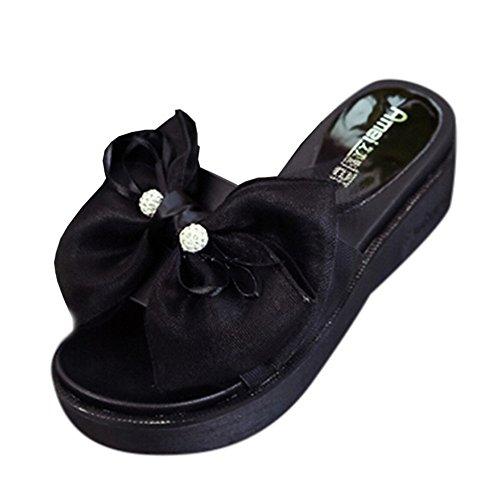 Pantofole piatte, Longra Donna Piattaforma impermeabile, sandali di legame di arco bassi spessi Nero