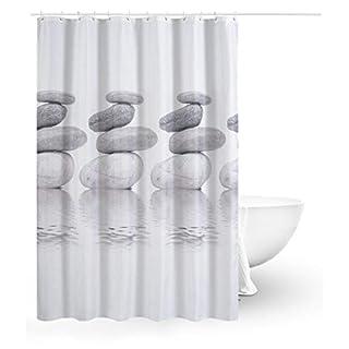ACMEDE Duschvorhang 240x200 Textil Grau Pebble Schimmelresistenter und Wasserabweisend Shower Curtain mit 16 Duschvorhangringen