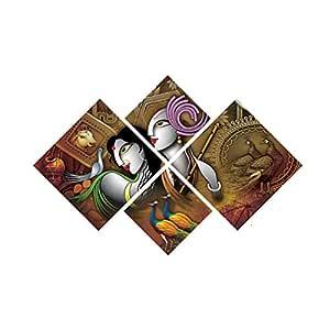 eCraftIndia 'Radha Krishna' Painting (Canvas Print, 127 cm x 43.18 cm, Set of 4)