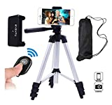 #10: Aluminum Silver : Eyexplo Phone Camera Tripod for iPhone 42 Inch Extendable Aluminum Tripod Stand with Bluetooth Wireless Remote Shutter and Universal Smartphone Holder Mount(Aluminum Silver) BLUTOOTH REMOTE FOR MOBILES BY ELVISH ALL SOLUTION GALLERY
