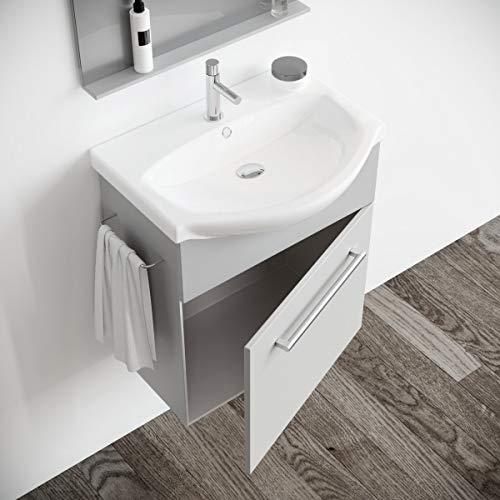 MarinelliGroup Mobile Bagno salvaspazio sospeso 60 cm Grigio con lavabo in  Ceramica Specchio e Luce. Papavero