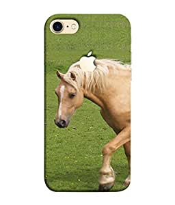 Fuson Designer Back Case Cover for Apple iPhone 7 (Logo View Window Case) (Green Chetak Running Horses Farm House)