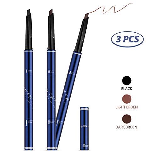 Augenbrauenstift Brauenpuder 3 Farben in 1,Langanhaltende Wasserdichte Schweißfeste Rinziehbarer Stift mit Bürste -