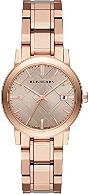 Burberry Women's Rose Check Stamped Dial Stainless Steel Band Watch - BU