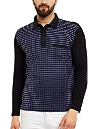 Hypernation Blue And Black Check Cotton Polo T-shirt For Men