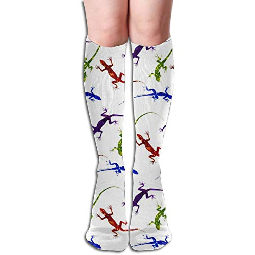 Women's Fancy Design Stocking Colorful Spotted Lizards On White Multi Colorful Patterned Knee High Socks 19.6Inchs -