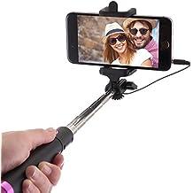 Palo Selfie Stick con Cable para Teléfonos Móviles Android, iPhone 6s, 6 Plus, 5, 5s, 5c, 4, 4s y Samsung Galaxy S3, S4, S5 S6 y S7 Edge Mini. No Precisa Batería ni Bluetooth, Extensible, Telescópico, No Necesita Configuración (Pink)