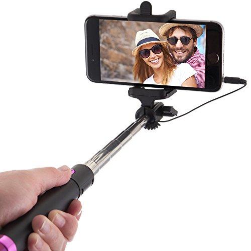 Power Theory Perche Selfie Stick Câblé [Sans Batterie, sans Bluetooth] pour Apple iPhone 6s 6 Plus 5 5s 5c 4, 4s, Samsung Galaxy S3 S4 S5 S6 S7 Edge & Android Smartphone (Noir)