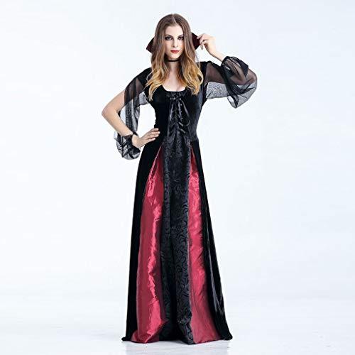 Zylione Damen Partykleid Halloween Maxi Kleid Steampunk Gothic Kostüm Vampir Hexe Kleider Lang Gothic Kleid Cosplay Hexenkostüm Kostüm Schwarz Partykleid Temperament Göttin Königin Kleider Umhang