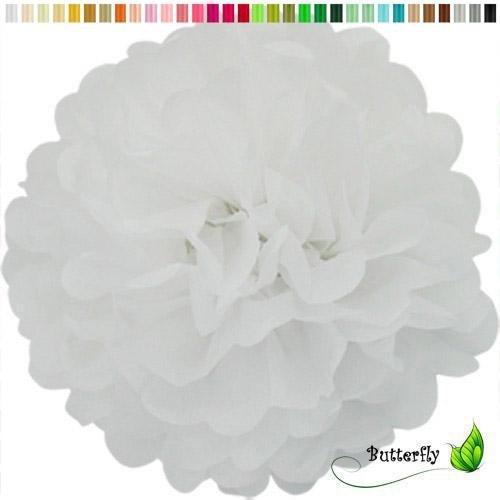 Pompon 50cm XXL (weiß 029) // Pompom Bommel Kugel Seidenpapier Blumen Deko Hängedeko Raumdeko ()