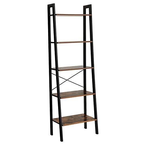 VASAGLE Vintage Standregale, Bücherregal mit 5 Ablagen, mit Metallrahmen, einfache Montage, fürs Wohnzimmer, Schlafzimmer, Küche, 56 x 172 x 34 cm (B x H x T) LLS45X -