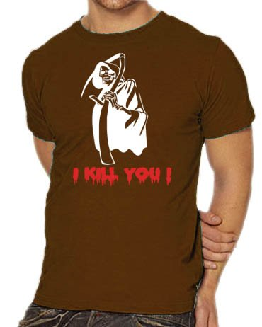 Touchlines Unisex/Herren T-Shirt Sensemann - I Kill you !, brown, XXL, (Papier Kostüm Rock Schere)