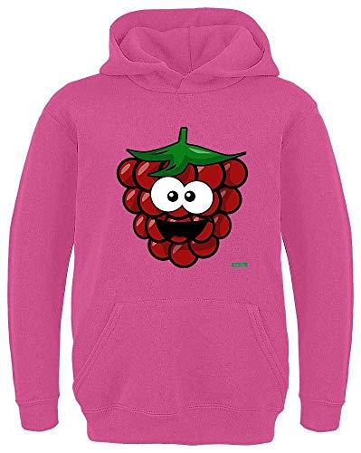 Mädchen Kostüm Himbeer - HARIZ Kinder Hoodie Himbeere Lachend Früchte Sommer Inkl. Geschenk Karte Pink 116/5-6 Jahre