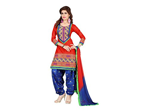 Designer Red Cotton Embroidered patiala Suit