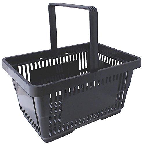 gebar 1 Einkaufskorb in schwarz mit Einem Tragegriff aus Plastik 20 Liter Verkaufskorb Verkaufskörbe stapelbar