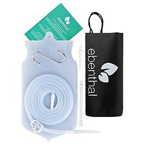 Premium Darmeinlauf-Beutel zur Darmreinigung 2L EBENTHAL VITAL® • Darmspülung-Irrigator aus durchsichtigem Silikon für mehr Hygiene • Klistier-Set mit 2M Schlauch • Inkl. Anleitung • BPA-frei