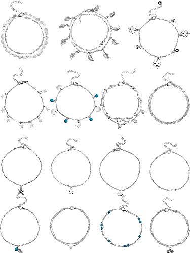 15 Stück Knöchel Ketten Armbänder Einstellbare Strand Fußkettchen Fuß Schmuck Set Fußkettchen für Damen Mädchen Barfuß (Silber)