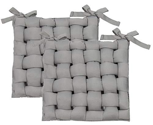 ZOLLNER 2er Set Stuhlkissen mit Bänder, 40x40 cm, grau (weitere verfügbar)