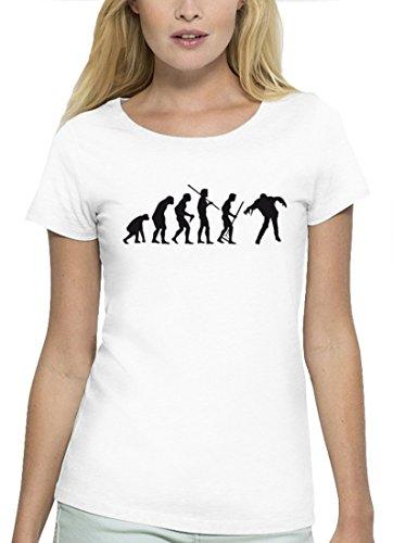 Halloween Premium Damen T-Shirt aus Bio Baumwolle Evolution Zombie Marke Stanley Stella White