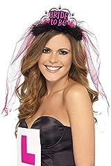 Idea Regalo - Smiffy's, nero, Smiffys Tiara con velo futura sposa, scritta rosa Donna, 26837