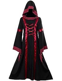 tianxin Vestido con capucha victoriana victoriana de las mujeres Vestido de lujo medieval manga flare Disfraz de Cosplay de Halloween