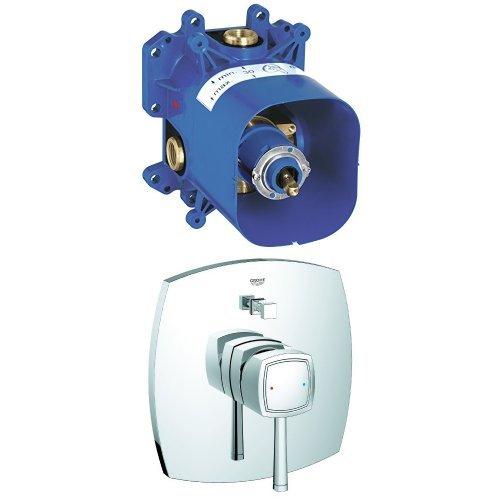 Grohe Rapido E Unterputz-Universal-Einhebelmischer + GROHE Unterputz-Brausebatterie mit Thermostat, für Badewanne/Dusche, Grandera, Silber
