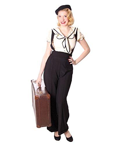 Marlene Kostüm Dietrich - SugarShock Damen Marlene Hose Marnie Suspender, Größe:L, Farbe:Schwarz