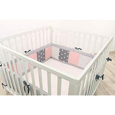 ULLENBOOM® Bumper- Pink Grey (400x 30cm Baby playpen Bumper, Full Surround Bumper Pads for 100x 100cm playpen)
