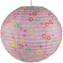 Papel para habitación infantil (con LED–Lámpara de pantalla margaritas–Lámpara colgante con suspensión