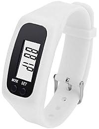 Covermason LCD Digital Podómetro Correr Caminar Distancia Caloría Mostrador Relojes de pulsera Blanco
