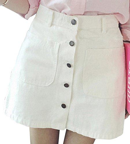 Mujeres Colegio Viento Falda De Mezclilla Corta De Cintura Alta Con El Bolsillo Grande Blanco S