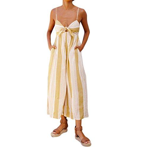 TWIFER Frauen Streifen Druck Overall Sommer Strand Jumpsuits Damen Loose Playsuit Lange Hose (S, Gelb)