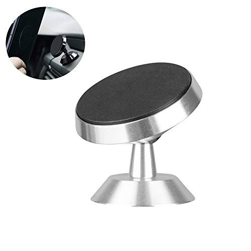 Mehios Car Phone Holder, 360° Rotation Grip Universal Center Console Magnetic Phone Holder Mount Cradle Holder for GPS Tablet Smartphone iPhone 7 8 Plus, Samsung Galaxy S7 S8,Silver