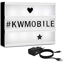 kwmobile cinema light box formato A5 - insegna luminosa con 126 lettere simboli numeri in nero - luci LED decorative - lampada cinematic lightbox