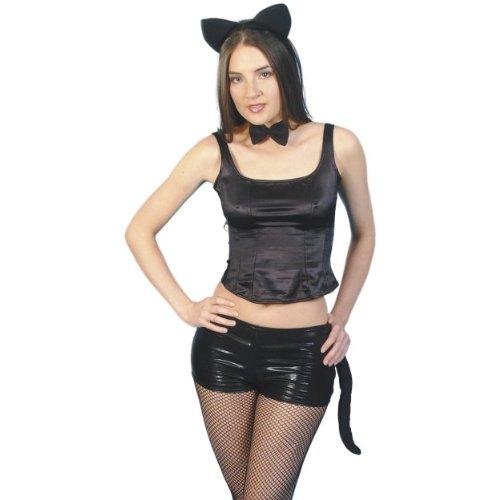 Halloween Kostüm Zubehör Katze Set schwarz Fell Ohren Schwanz (Katze Maske Und Schwanz)