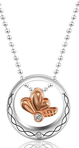 Beydodo Edelstahl Halskette Für Damen (Anhänger Halskette) Bowknot Schiebe Platte Weiss. Rose Gold (Herren-schiebe-kurz)