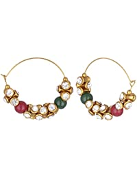 Sparkle Creation Multi-Color Metal Hoop Ear Ring For Women With Red And Green Stones And American Diamonds