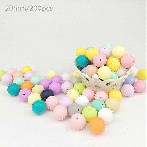 baby tete 20mm(200Pcs) Perles de silicone Round Organic Teethers pour bébé Diy Accessoires Alimentation Grave Sensory Infant DIY Collier Pendentif Baby Grasping Toys