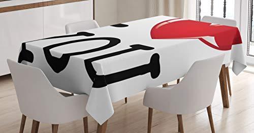 Abakuhaus ti amo tovaglia, san valentino di compleanno, impermeabile lavabile con i colori chiari non sbiadisce, 140 x 200 cm, rosso bianco nero