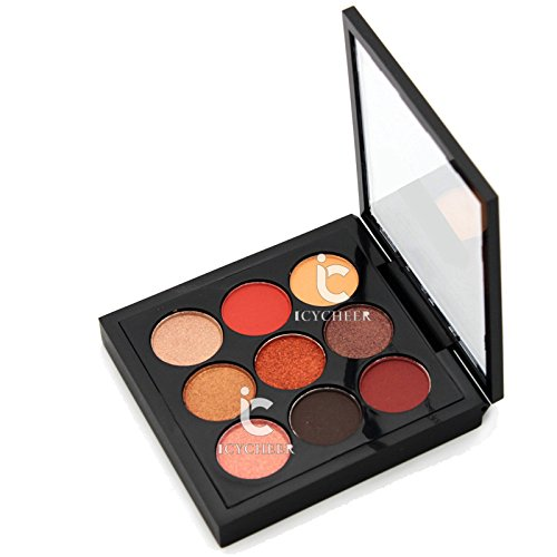 ICYCHEER Beauté Maquillage 9 Couleurs Smokey Eye Shadow Orange Nude Fard À Paupières Shimmer et Mat Ensemble