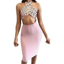 Las Mujeres Verano Elegante 2 Piezas Vestido De Paillettes Crop Top Y Falda Vestido De Fiesta Vestido Bodycon