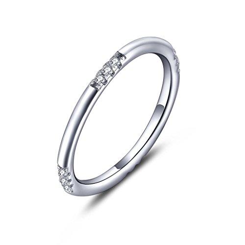 Yl anello in argento 925con zirconi brillanti, unisex, fede nuziale, regalo d'amore, con cofanetto in omaggio, argento 925/1000, 23, cod. nr99120a1-t
