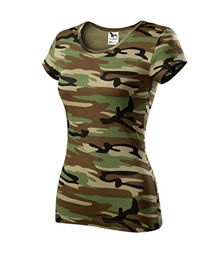 T-Shirt für Damen Ladies Shirt Pure - Größe und Farbe wählbar- (S, Camouflage braun)