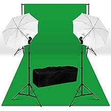 BPS 250W Kit iluminación fotografía + 3x6m fondo verde 100% algodón + luz paraguas, 2.8x3m soporte de fondo, kit estudio fotográfico para vidéo, televisión