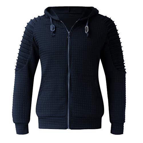 Xmiral Herren Sweatshirt Top Herbst Langarm Plaid Hoodie Mit Kapuze T-Shirt Outwear (XXL, X Marine Blau) - Wolle Herren Golf-pullover
