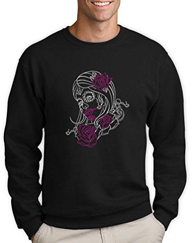 stripe Motiv Sweatshirt XX-Large Schwarz (Sugar Skull Kostüme Ideen)