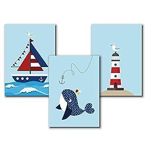 Poster maritim Kinderzimmer | A4 Kinderbilder Kinderzimmer Wal | 3er Set | Kunstdruck Kinderzimmer | ohne Bilderrahmen