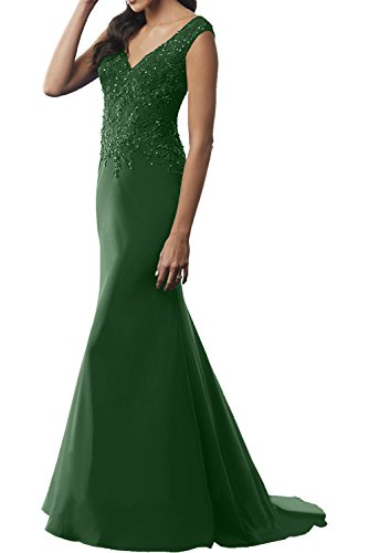 Charmant Damen Royal Blau V-ausschnitt Brautmutterkleider Etuikleider Abendkleider Meerjungfrau Lang Dunkel Gruen
